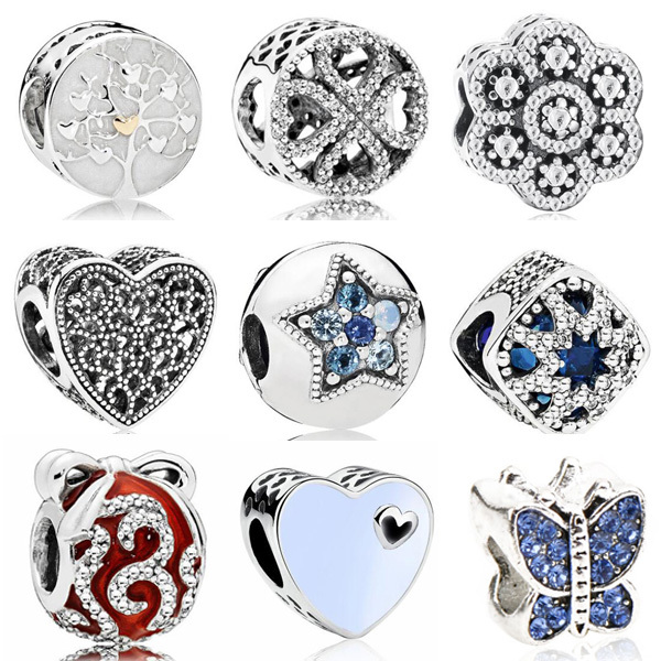 Vintage Punk Small Apple Dog Tree Love Hearts Flowers Beads Charms Fit Pandora Bracelets & Bangles for Women New Fashion DIY