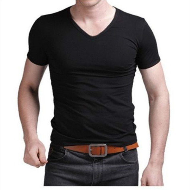 Fashion Summer Men Cotton T shirt casual short sleeve V-neck T-shirts Black White Plus Size M-XL