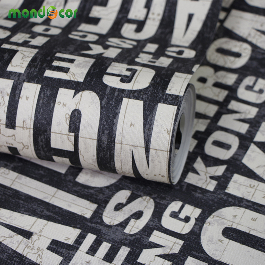 Mondecor 10M PVC Waterproof Word English Letter Modern Wallpaper Roll Simple Embossed Desktop Vintage Wall Paper Wall Coverings футболка dc shoes майка letter word tk m kttp