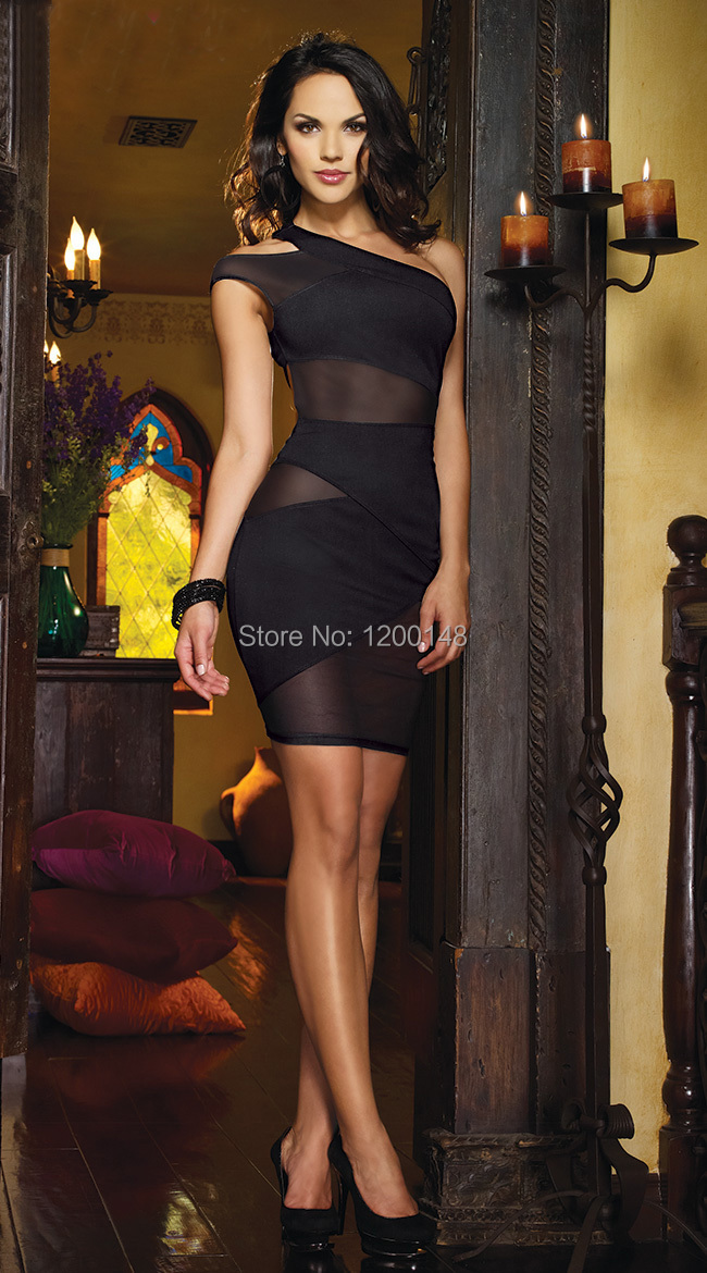 2014 Women New Mesh and Knit One Shoulder Dress, Club Sexy Open Back Dress, black knit one shoulder dress with mesh insets