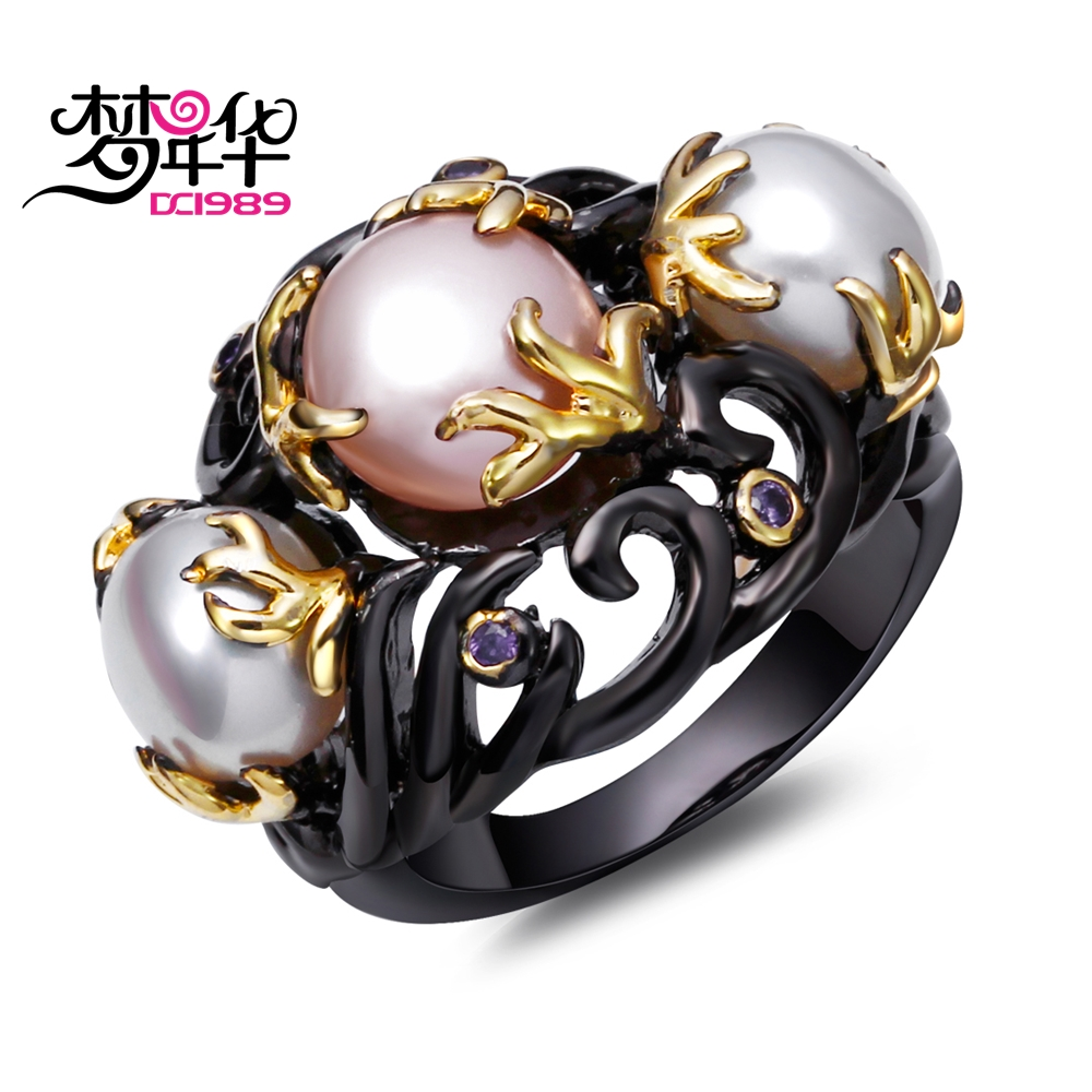 DreamCarnival 1989 Pink White Created Pearls Vintage Ring for Women Purple CZ Frauenringe Gothic Mujeres anillo