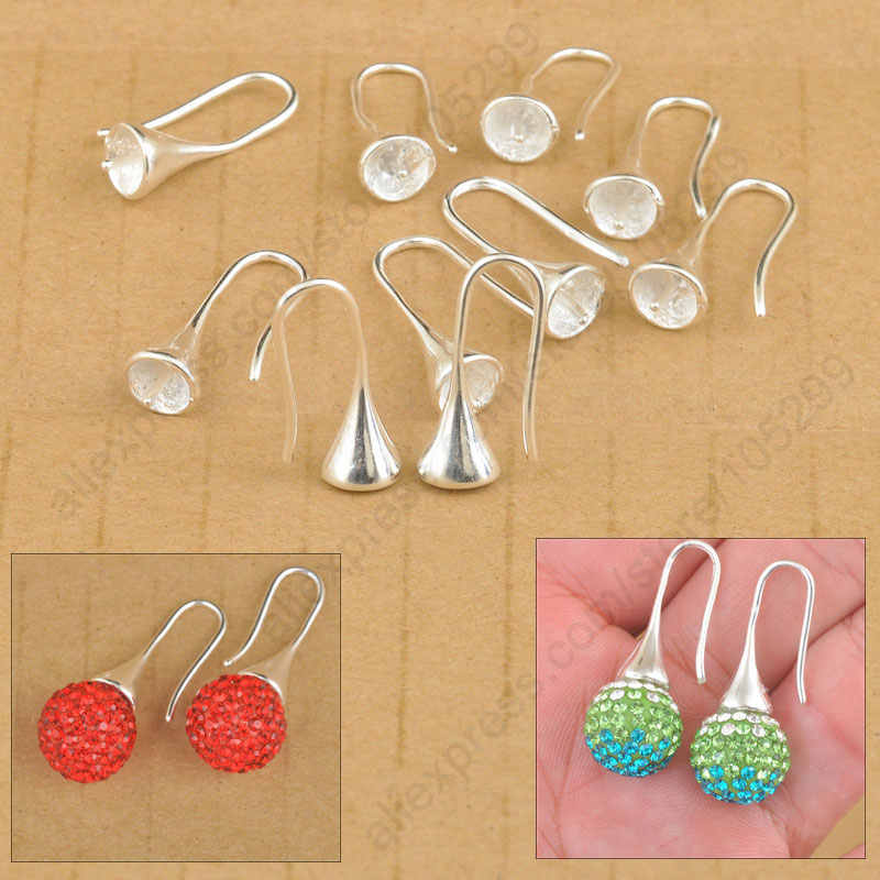 Free Shipping 20PCS/Lot Jewelry Findings 925 Sterling Silver Earring Bail Trumpet Hook Ear Wires For Bead Crystal