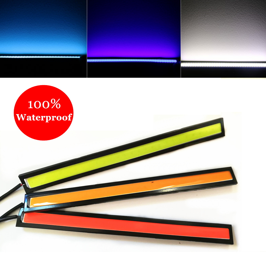 1pc 17cm Waterproof Ultra-thin COB Chip LED Daytime Running Light LED DIY DRL Parking Fog Car Lights Car Day Running Lights 9W