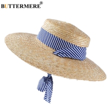 BUTTERMERE Women Sun Hat Wide Brim 11cm Lace Up Elegant Ladies Raffia Summer Beach Straw Designer Brand Female Cap