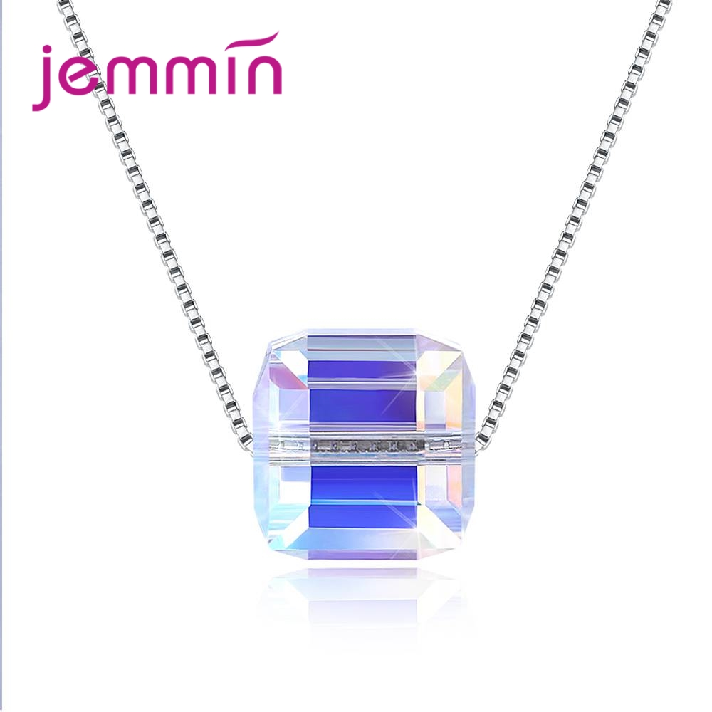 JEMMIN Beautiful Color Crystal Square Cubic Zirconia Pendant Brilliant 925 Sterling Silver Necklace For Women Girlfriend Bijoux