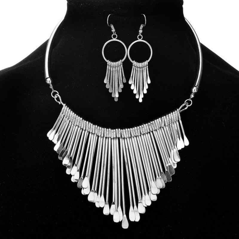 יוקרה אופנה גדול ציצית אפריקאי תכשיטי סטי שרשרת Drop עגילי זהב כסף צבע תכשיטי סטים לנשים מתנה סיטונאי