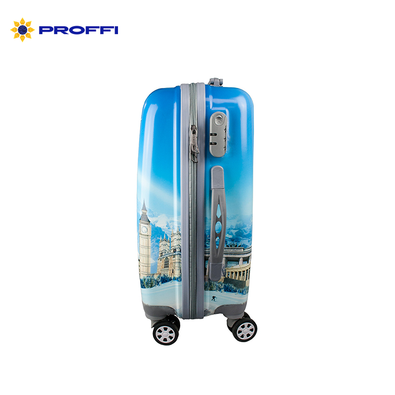 Fashionable suitcase with print PROFFI TRAVEL PH8647, S, plastic, with combination lock 4680477008639 on wheels