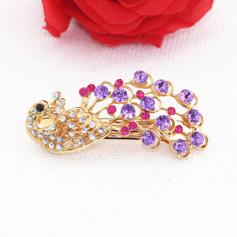 Fashion Women Vintage Rhinestone Colorful Peacock Hair Clip Crystal Pins Jewelry