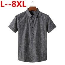 Плюс 8XL 6XL 5XL рубашка с коротким рукавом мужская одежда летние повседневные мужские рубашки облегающая в клетку Camisa Masculina хлопчатобумажная сорочка Homme