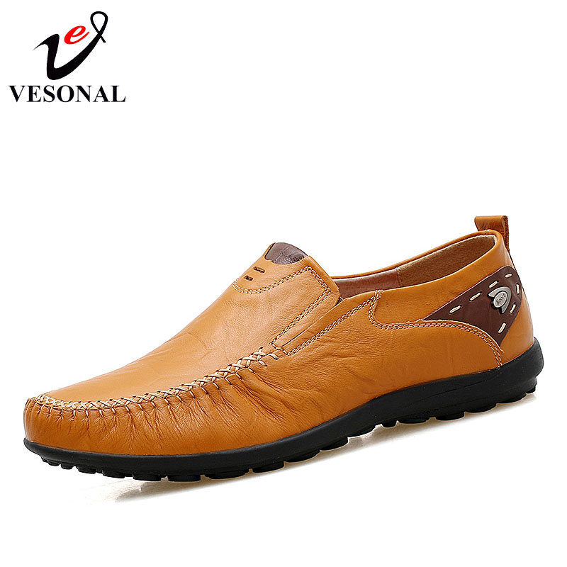 VESONAL Spring Summer Slip On Soft Flats Male Loafers Shoes Men Moccasins Genuine Leather Casual Boat Driving Driver Footwear