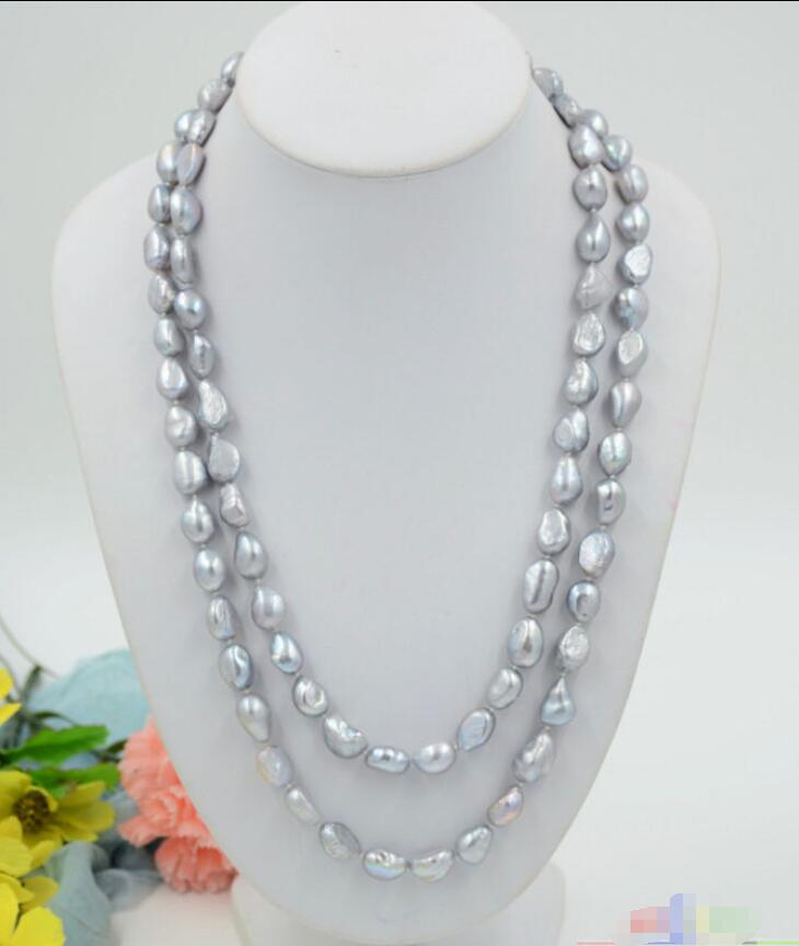 """AAA 7-8 mm NATURAL Gray Freshwater Cultured Pearl Fashion Collier 31/"""" long"""