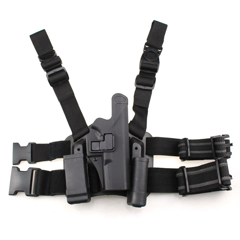 Tactical Glock Leg Holster Level 2 Right Hand Paddle Thigh Belt Drop Pistol Gun Holster w Magazine Torch Pouch f Glock 17 19 22 adjustable quick release plastic tactical puttee thigh leg pistol holster pouch for usp45 black