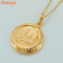 Anniyo Islamic Necklaces for Women/Men,Gold Color Muslims Mosque Pendant Middle East Jewelry Arab Islamist Worship #035304