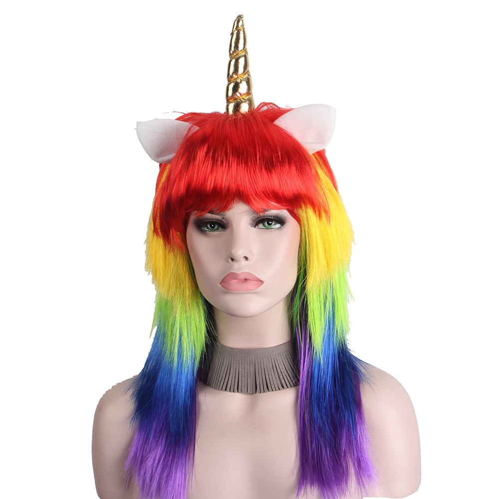 Anxin Cosplay Unicorn Wigs for Women With Bangs Synthetic Fiber Colorful Long Colorful Rainbow Straight Hair Wig Manufacturer