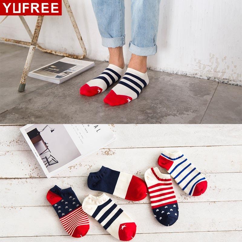YUFREE Hot Sale! Mens Socks Stripe Socks For Men Women Cotton Casual Spring Summer Autumn Short Fashion Male Socks WA-07