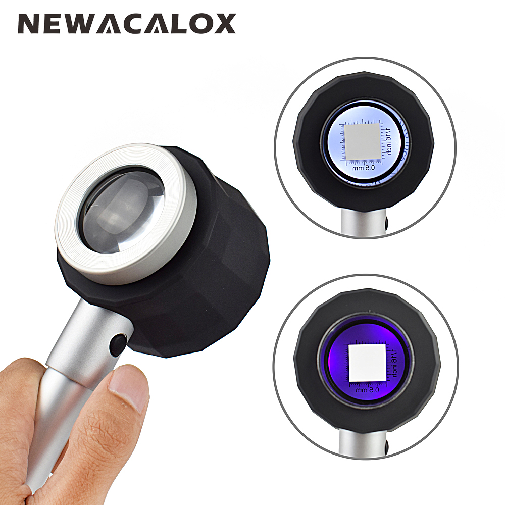 NEWACALOX Portable 10X Magnifying Glass with Scale LED Light Ultraviolet Lamp Handheld Creative Reading Holding Metal Magnifying portable 100 times the magnifying glass with light portable antique appraisal tools with leather jewelry