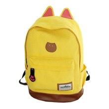 95d569800558 Canvas Backpack For Women Girls Satchel School Bags Cute Rucksack School  Backpack children Cat Ear Cartoon Women Bags Yellow