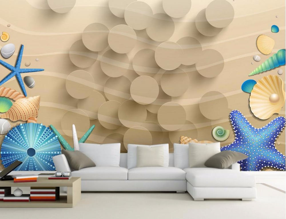 Custom Photo Wall papers Home Decor Summer Beach Scenery Backdrop Simple Fashion Large 3D Mural Wallpaper home decor starfish beach style pillow case