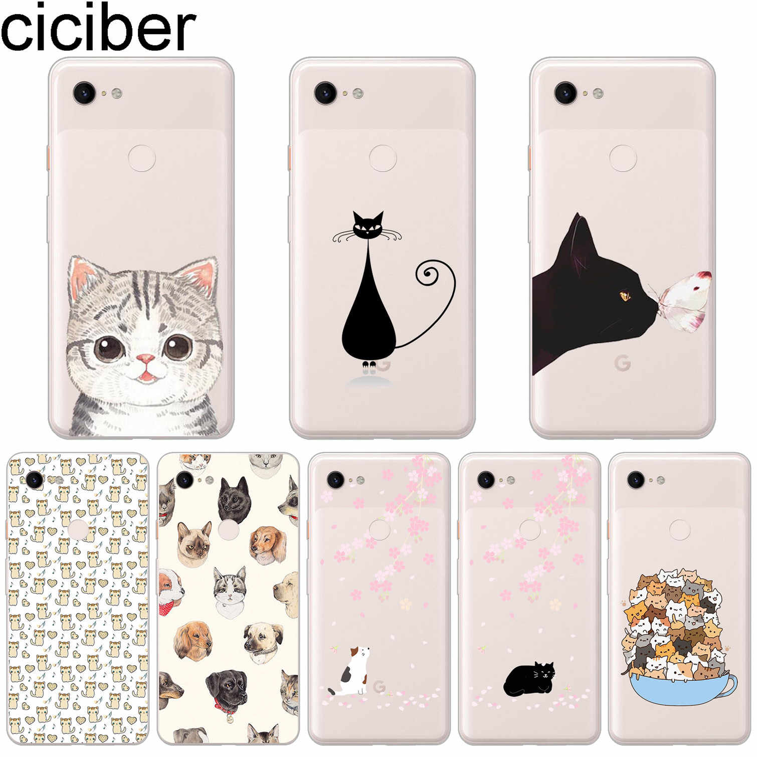 ciciber Cat Flower Soft Silicone Phone Case For Google Pixel 3 2 XL TPU Back Cover for Pixel 3XL 2XL Coque Fundas Capa Shell