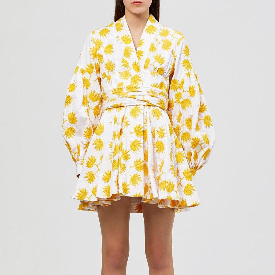 2019 été jaune feuille d'érable imprimer femmes robe nouvelle mode lanterne manches v-cou Empire cordon drapé élégant Mini robe