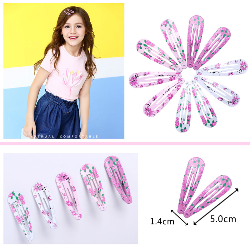 10pcs Baby Girls Hairpin 4cm BB Clips Snap Hairpins Toddler Kids Hair Accessory