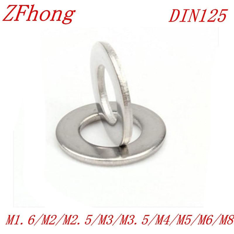 купить 100Pcs DIN125 ISO7089 M1.6 M2 M2.5 M3 M3.5 M4 M5 M6 M8 304 Stainless Steel Flat Machine Washer Plain Washer Gaskets недорого