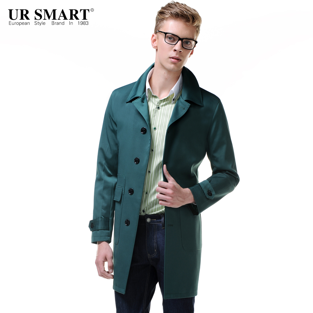 URSMART Paragraph dust coat grows in new men business style men single-breasted trench coat