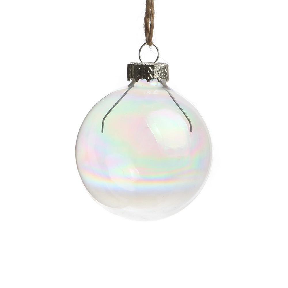 Flat glass ornaments - Dia6cm Iridescent Rainbow Wedding Bauble Ornaments Christmas Balls Glass Balls Party