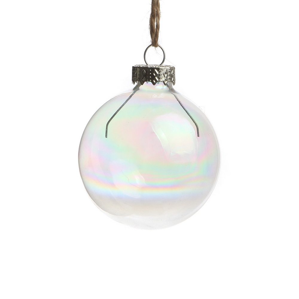 Glass christmas ball ornaments - Dia6cm Iridescent Rainbow Wedding Bauble Ornaments Christmas Balls Glass Balls Party