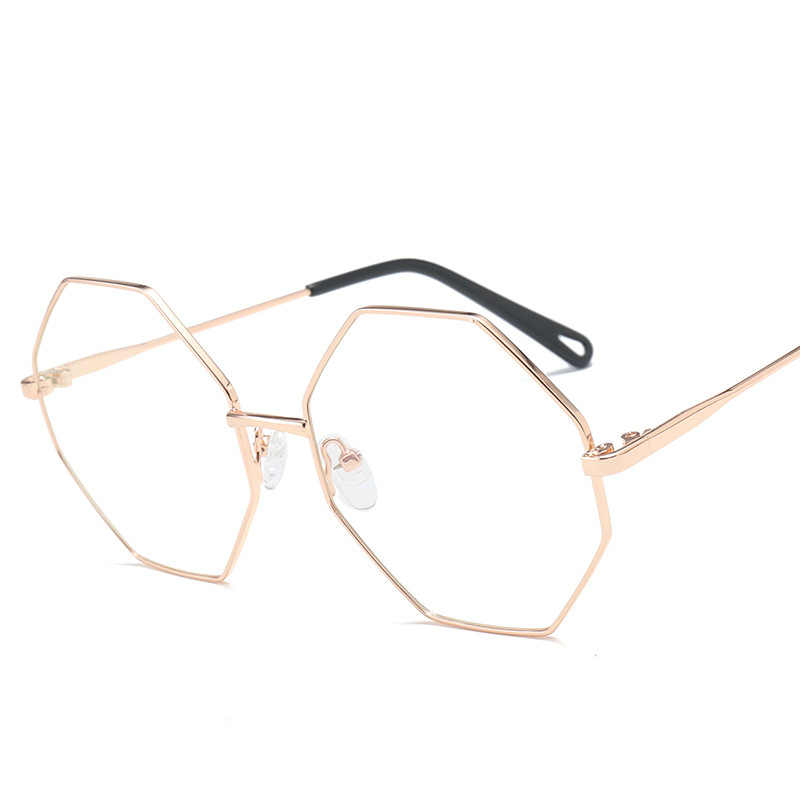 43935411eb 2018 Men Women Metal Octagon polygon Eyeglasses Flat mirrored Optical frame  Glasses Occhiali da vista donna