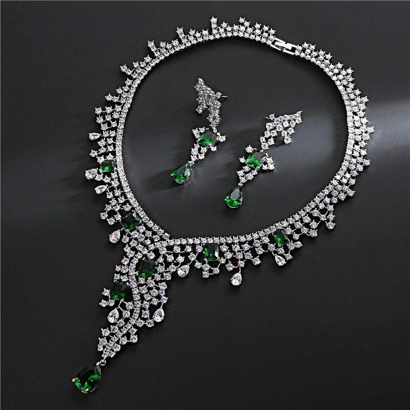 Dower me luxe Zircon mariage bal femmes ensemble de bijoux accessoires bleu cristal collier de mariée boucles d'oreilles ensemble