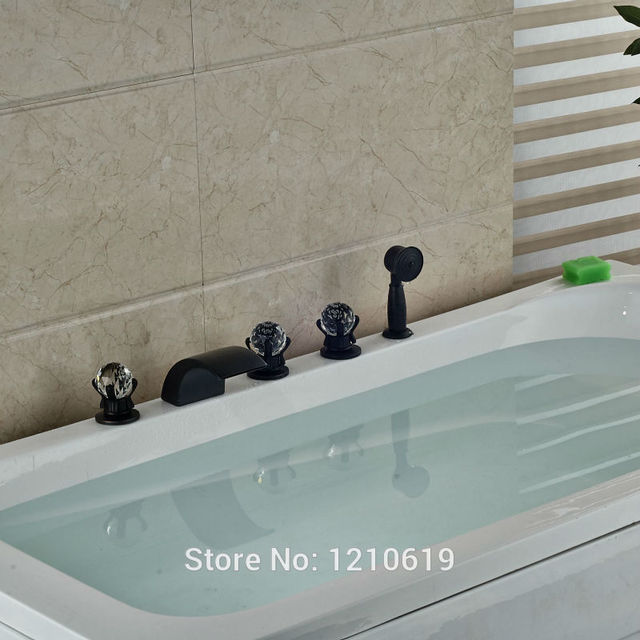 Newly Bathtub Faucet Set W Hand Sprayer Deck Mount Oil Rubbed