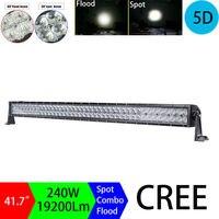 240W 40 42 5D Dual Row Straigh LED Light Bar Spot Flood Combo Beam Car Light
