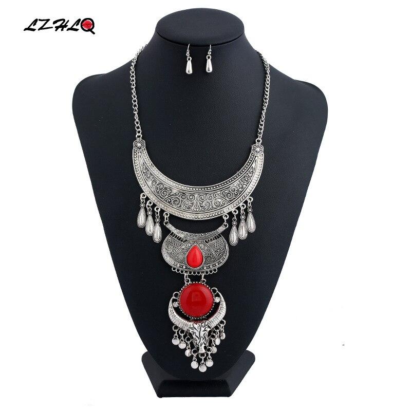 Купить lzhlq 2019 винтажное резное геометрическое ожерелье с кисточкой