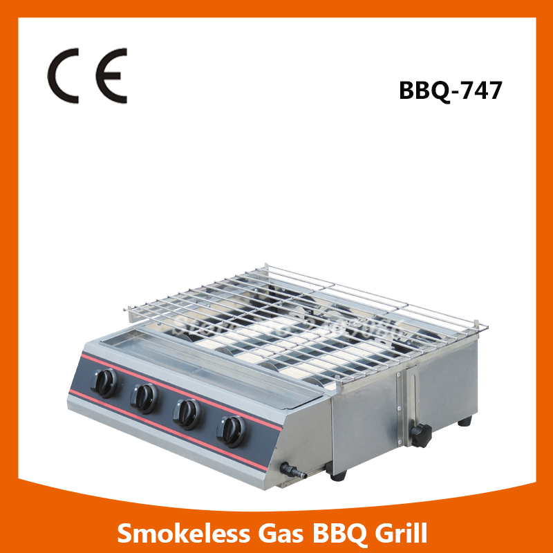 Фото commercial table counter top stainless steel gas Smokeless bbq Grill for food machine