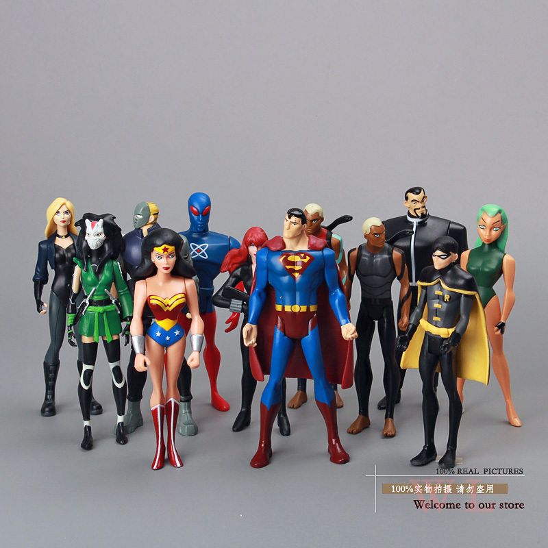 Free Shipping Superheros DC Universe YOUNG JUSTICE Superman Robin Wonder Woman Micron AQUALAD Action Figures 12pcs/lot FG076 long flower girl cape winter princess junior bridesmaid cape wedding cloak with fur trim with hand warmer for communion dress