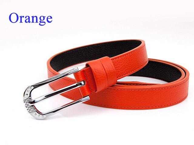 100% de cuero de vaca genuino cinturones de cuero de vaca para las mujeres orange correa de accesorios de ropa de moda femenina cinturón de hebilla de metal sólido