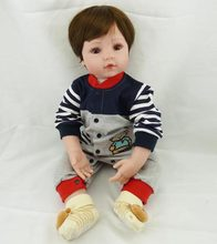 61cm Reborn Dolls Silicone Vinyl 24'' boy Reborn Babies Toys Big brown eyes For Christmas Gifts Lifelike Soft companion doll LOL(China)