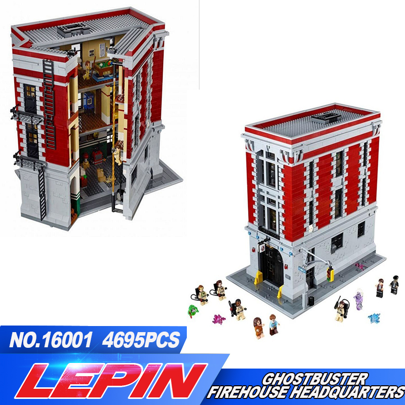 LEPIN 16001 4695Pcs Ghostbusters Blocks Firehouse Headquarters Model Building Kits Model set Compatible legoed With 75827 new lepin 16009 1151pcs queen anne s revenge pirates of the caribbean building blocks set compatible legoed with 4195 children