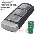 Jingyuqin 3 кнопки умный дистанционный ключ-брелок от машины для Volkswagen 3C0 959 752 BA 434Mhz ID48 чип подходит для VW Passat B6 3C B7 Magotan CC