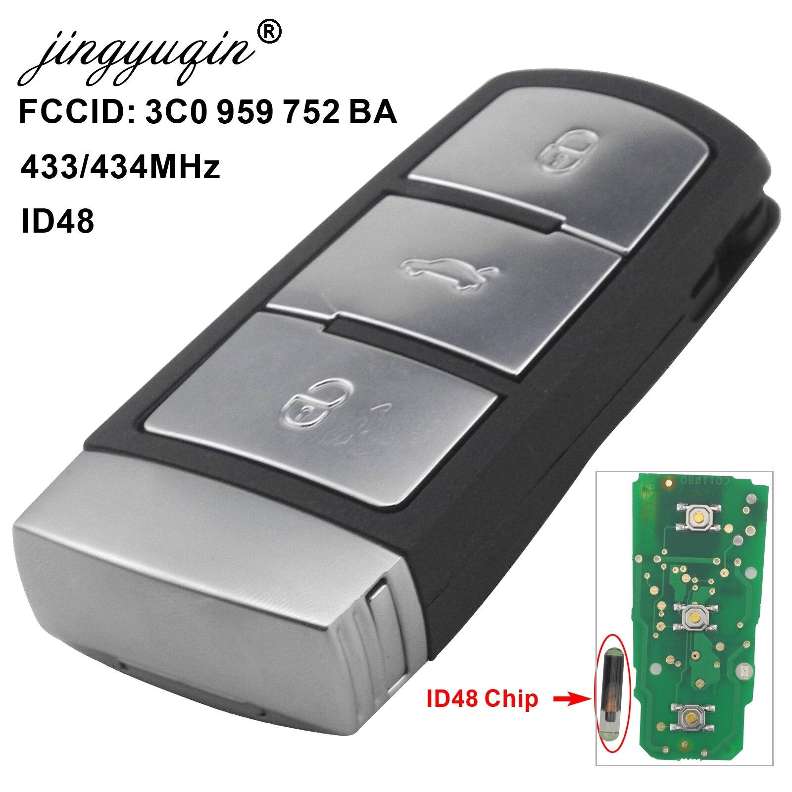 Otomobiller ve Motosikletler'ten Araç Anahtarı'de Jingyuqin 3 düğmeler akıllı uzaktan anahtar araba anahtarı 3C0 959 752 BA 434Mhz ID48 çip fit VW passat B6 3C B7 Magotan CC