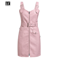 Ly Varey Lin Spring Faux Leather Dresses Women Pu Faux Leather Short Dress V Neck Sexy Zipper Black Pink Slim High Waist Dress