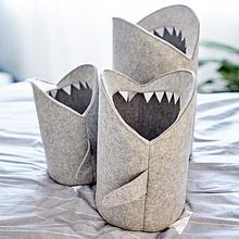 Gray Shark Mouth Shaped Folding Laundry Basket Eco-Friendly Creative Home Toys Sundries Storage & Organization Size S/M/L 7A3033