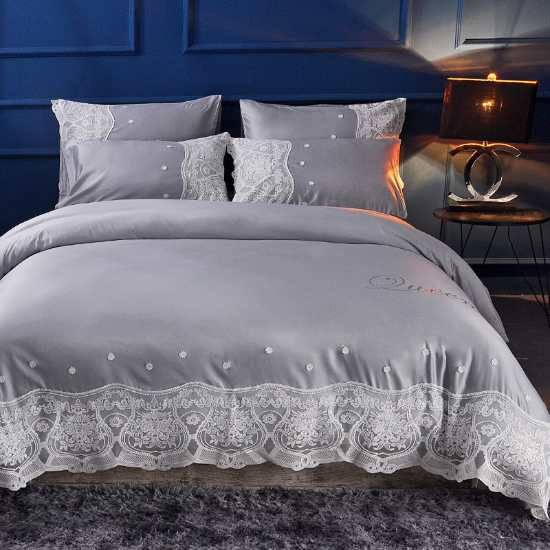 Queen king size Lace princess style bedding sets beige cream blue luxury cotton silk bedding set duvet cover bed sheet/linen setQueen king size Lace princess style bedding sets beige cream blue luxury cotton silk bedding set duvet cover bed sheet/linen set