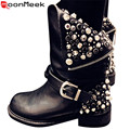 2017 new pu+ genuine leather fashion boots women zipper rivets square heels autumn winter ankle boots sexy martin shoes woman