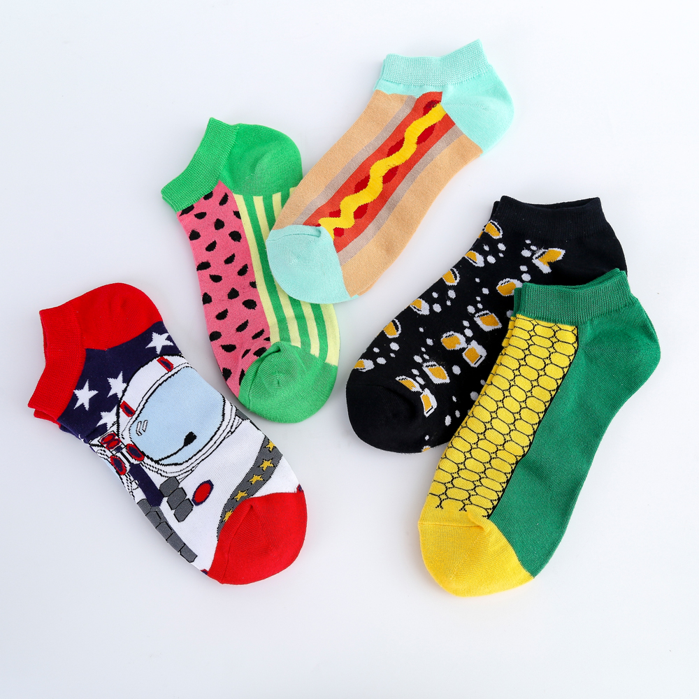Jhouson New Arrival Men's Combed Cotton Casual Summer Ankle Socks Watermelon Corn Pattern Colorful Novelty Casual Boat Socks
