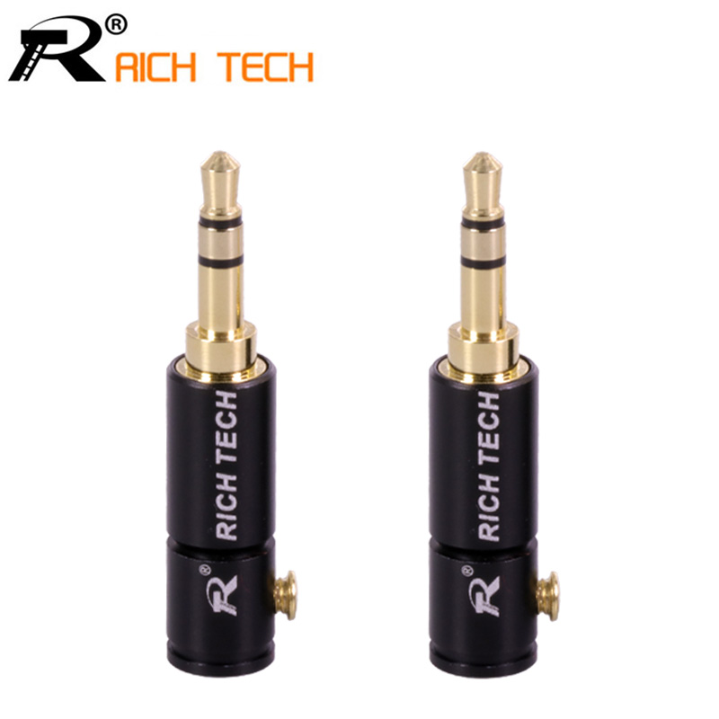 3PCS Jack 3.5mm Audio Plug 3 Pole Gold-plated Earphone Connector with Aluminum tube&Screw locks welding free RICH TECH packing 3pcs aluminum jack 3 5 earphone plug 3 5mm 3 pole stereo male plug gold plated wire connector for earphone diy prepairing