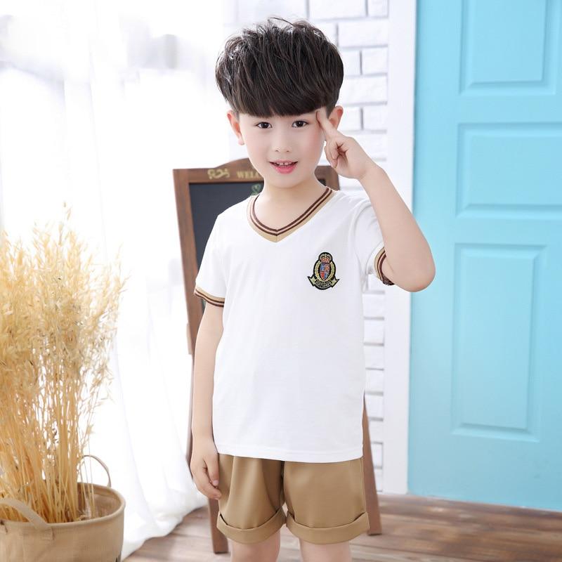 Uniforme scolaire costume Enfants des Écoles Primaires de Classe vêtements Collège Vent Pur Couleur Jeux vêtements Maternelle vêtements D'été