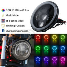 "Bluetooth 7 ""LED Far RGB Melek Göz Halo Harley Davidson Için Motorcycle1994-2013 Sportster Softail Motosiklet(China)"
