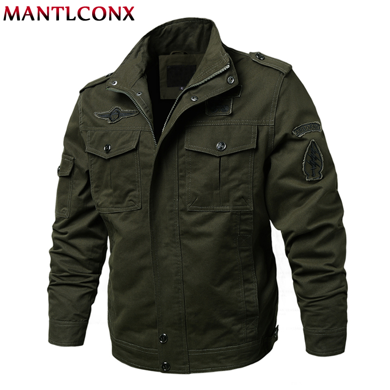 MANTLCONX Military Jacket Men Winter Cargo Plus size M-6XL Casual Man Jackets Army Flight Male Outwear